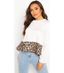 petite peplum luipaardprint sweater, wit