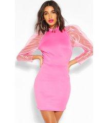 mini jurkje met hoge kraag en doorzichtige pofmouwen, pink