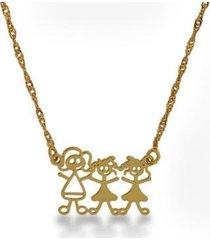 gargantilha horus import família feliz mãe+2 meninas banhada ouro 18k feminina