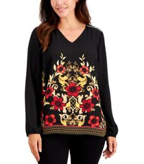 jm collection delilah printed embellished top, created for macy's