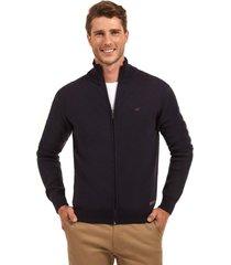 sweater básico con cierre azul ferouch