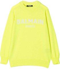 balmain fluo yellow unisex sweater