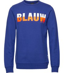 ams blauw signature crew sweat in regular fit sweat-shirt tröja blå scotch & soda