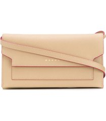 marni bellows leather shoulder strap wallet - neutrals