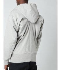 maison margiela men's firm ribbed zip hoodie - grey melange - it 50/l