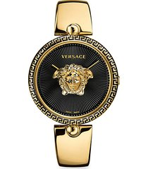 logo black dial & goldtone ip bracelet watch