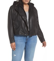 plus size women's caslon hooded leather jacket with removable hood