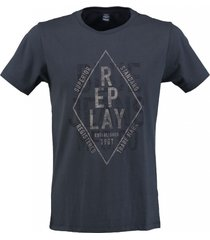 replay blauw regular fit t-shirt