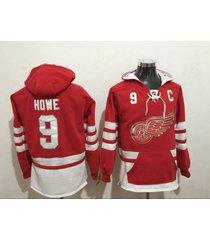 men's detroit red wings 9 gordie howe hockey pullover hoodie jersey