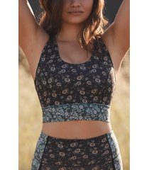 women's free people fp movement synergy print bra, size small - green