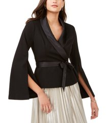 adrianna papell satin-trim belted tuxedo top