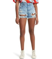 women's levi's 501 high waist ripped cutoff denim shorts, size 34 - blue