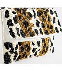 nitsa beaded leopard foldover clutch - leopard
