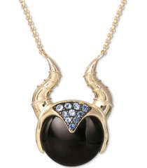 "disney onyx & cubic zirconia sleeping beauty maleficent horns 18"" pendant necklace in 18k gold-plated sterling silver"