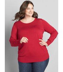 lane bryant women's ruched-side sweater - pointelle 18/20 joyful red