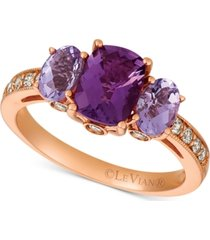 le vian amethyst (1-9/10 ct. t.w.) & diamond (1/4 ct. t.w.) ring in 14k rose gold
