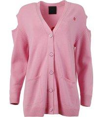 pink and red logo jacquard oversize cardigan