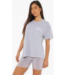 oversized overdye t-shirt met borstopdruk, grey