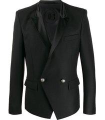balmain satin lapel double-breasted blazer - black
