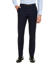 hugo men's modern-fit navy plaid suit pants