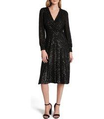 women's tahari long sleeve sequin faux wrap dress, size 6 - black