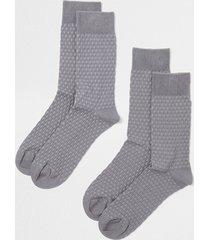 river island mens grey honeycomb premium socks 2 pack