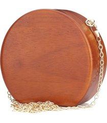 clutch redonda artestore social bolsa carteira de festa em madeira