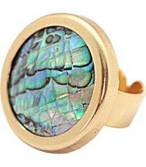 anillo piedra baño en oro nacar bijulovers