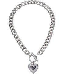 heart pendant link collar necklace