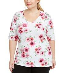 karen scott plus size floral-print t-shirt, created for macy's