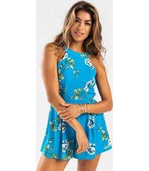 faithe floral high neck romper - blue