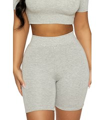 naked wardrobe oh so tight shorts, size small in heather grey at nordstrom