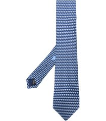 salvatore ferragamo animal-print silk tie - blue