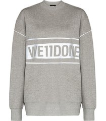 we11done reflective-logo sweatshirt - grey