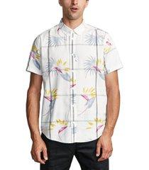 rvca men's fillmore floral windowpane-print shirt