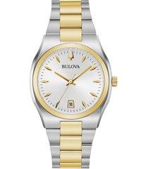 bulova women's surveyor two-tone stainless steel bracelet watch 34mm, created for macy's