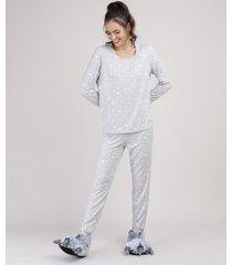 pijama feminino estampado de estrelas manga longa cinza mescla