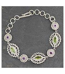 peridot and amethyst link bracelet, 'andaman fern forest' (india)