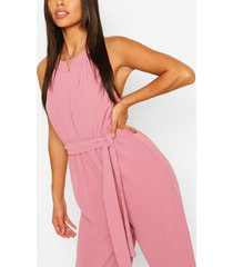 high neck belted jumpsuit, mauve