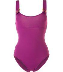 eres tortoiseshell-buckle one-piece - purple