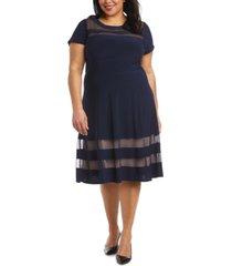 r & m richards illusion-inset fit & flare dress