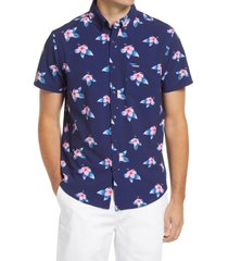 men's vintage summer floral print short sleeve button-down shirt, size x-large - blue