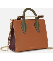 strathberry women's nano tote bag - tan/forest/burgundy