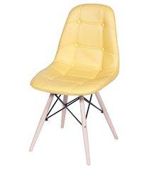 cadeira eames botonê com base em madeira 43x44cm amarela