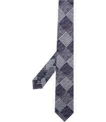 emporio armani check pointed tie - blue