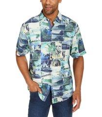 tommy bahama men's island snapshot classic-fit tropical print silk camp shirt