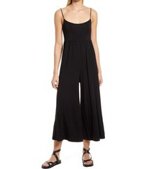 prim easy knit wide leg jumpsuit, size small in black at nordstrom