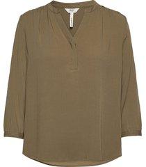 objbaya 3/4 v-neck blouse noos blus långärmad grön object