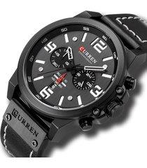 reloj deportivo hombre cronografo curren 8314 negro blanco