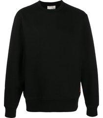 acne studios ribbed-edge crew-neck sweatshirt - black